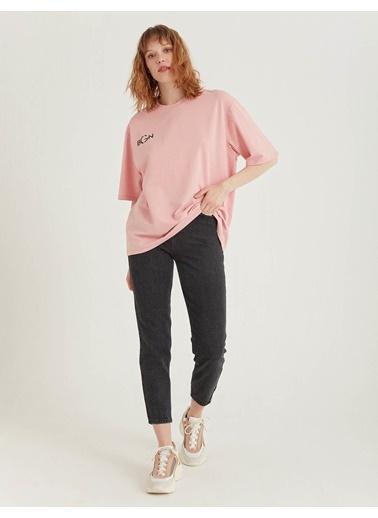 BGN Açık Pembe - Baskılı Pamuklu T-Shirt Pembe